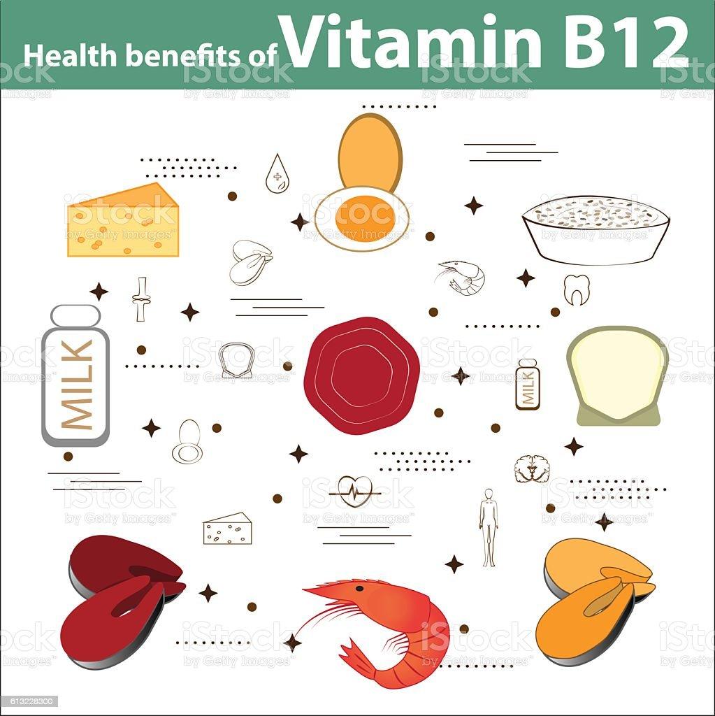 Health benefits of Vitamin B12 vector art illustration