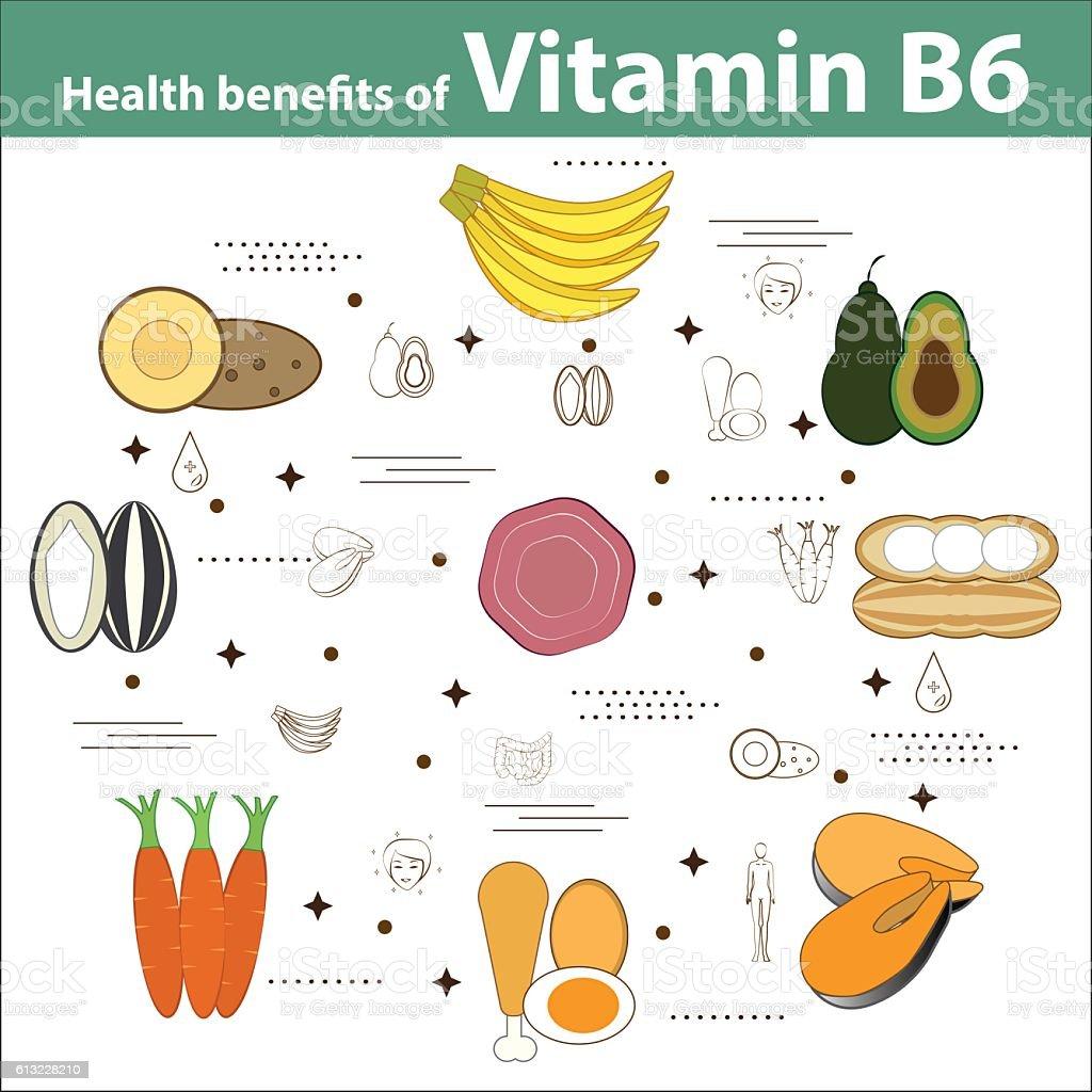 Health benefits of Vitamin B6 vector art illustration