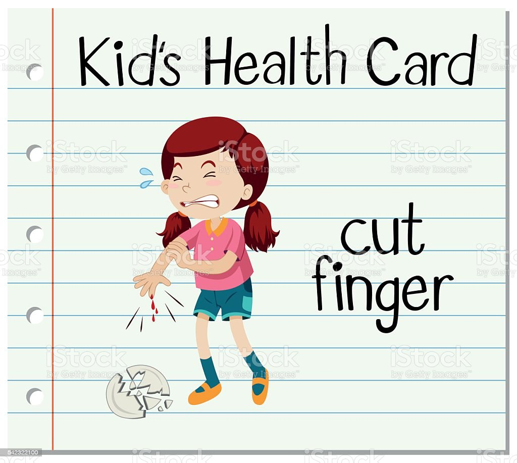 Health card with girl cutting finger vector art illustration