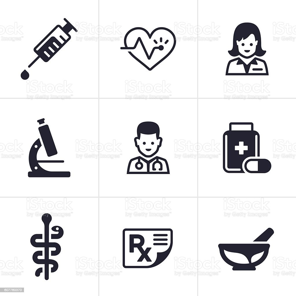 Health Care and Medical Icons vector art illustration