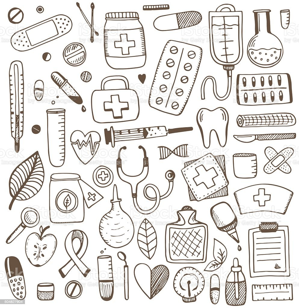 Health care and medicine elements set vector art illustration
