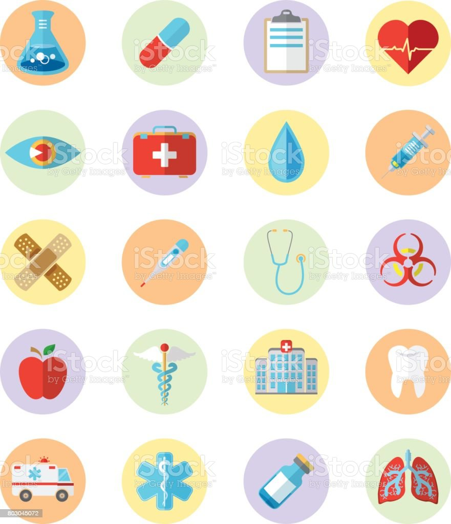 Health Care Flat Icon Grid vector art illustration