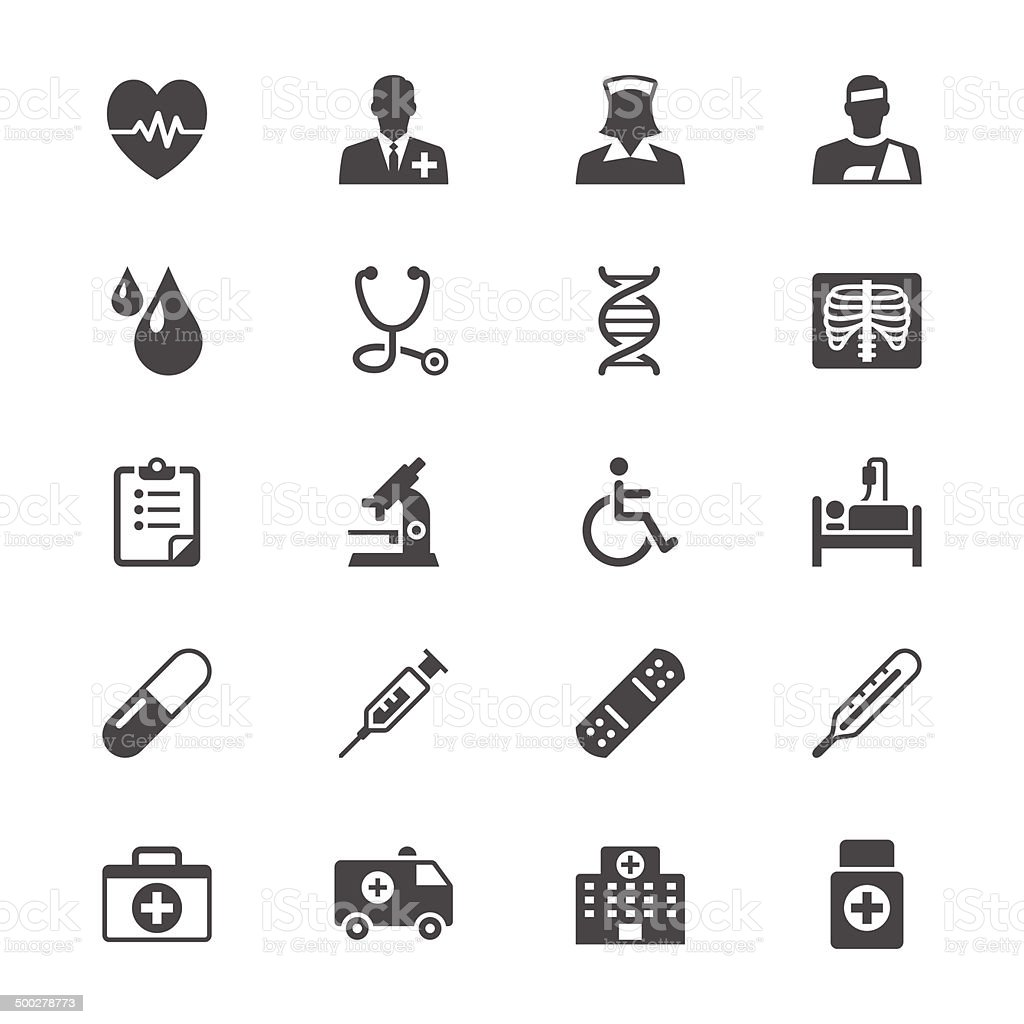 Health care flat icons vector art illustration