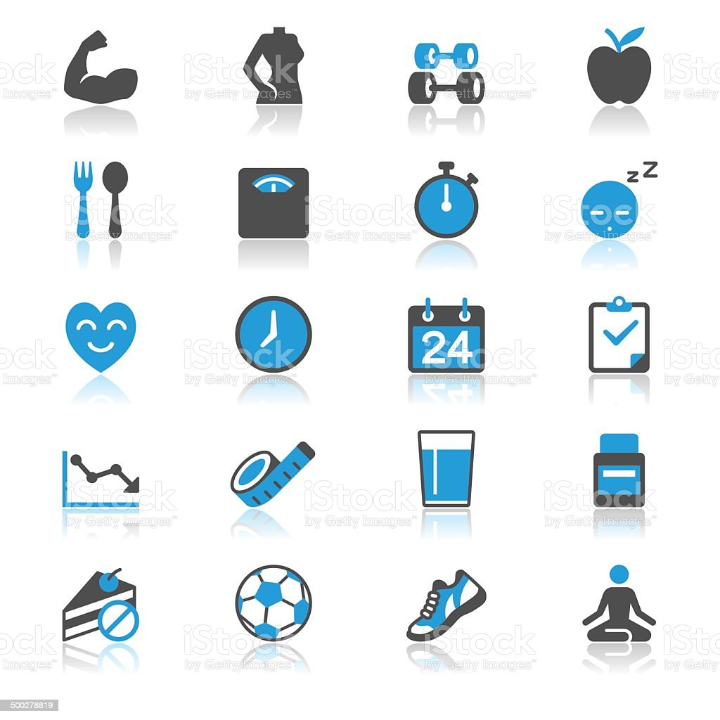 Health care flat with reflection icons vector art illustration