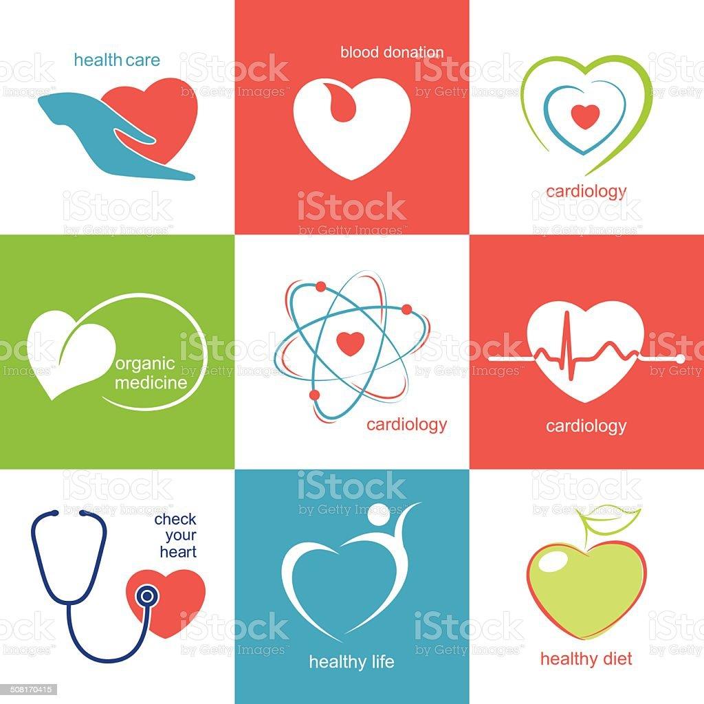 Health care icons set vector art illustration