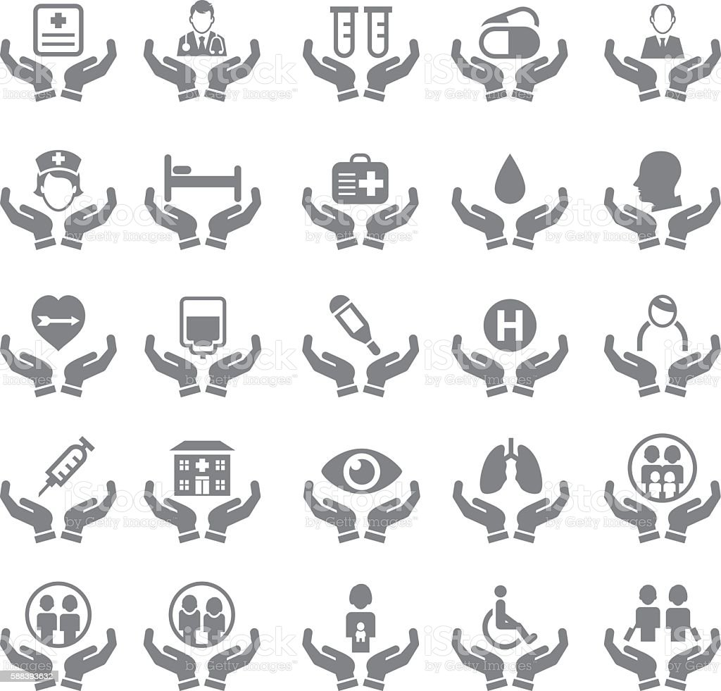 Health care insurance icon set vector art illustration