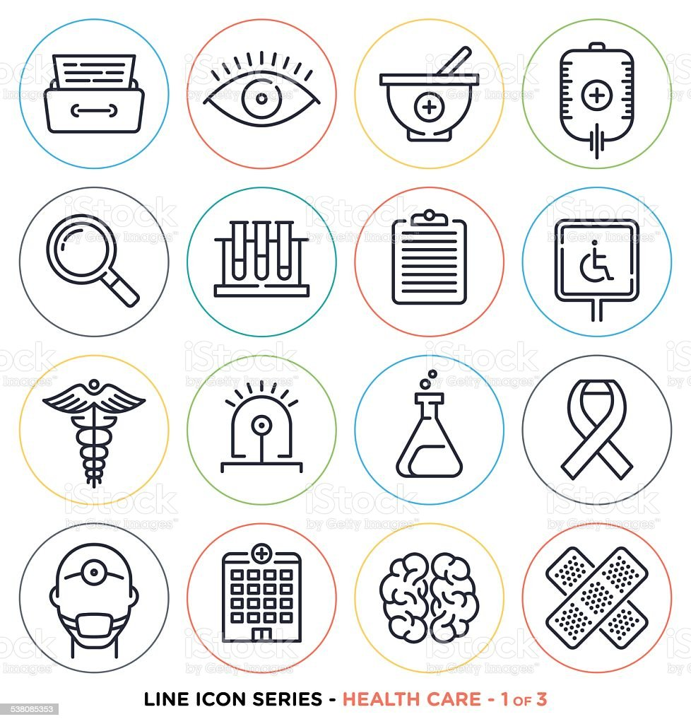 Health care & medicine line icons vector art illustration