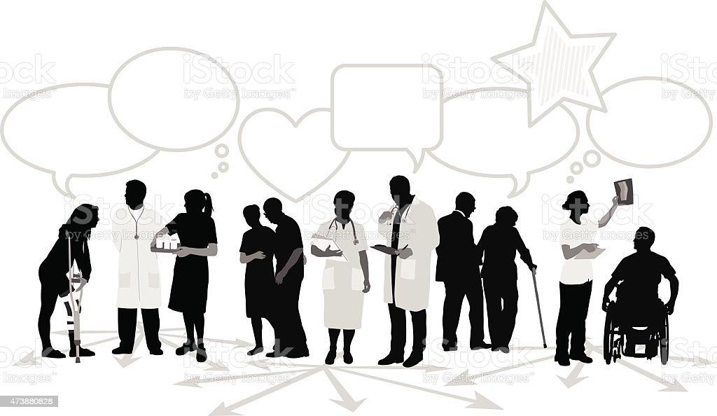 Health Care Out Spoken vector art illustration