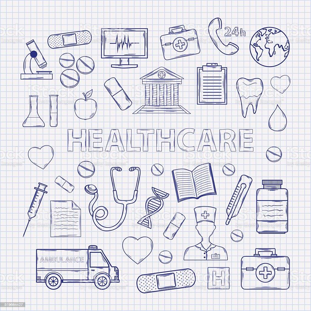 Health care set on the notebook sheet vector art illustration