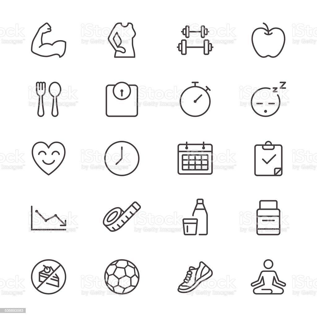 Health care thin icons vector art illustration