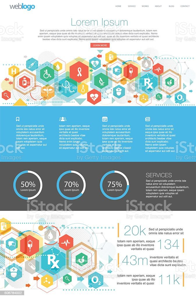 Health care Web design vector art illustration