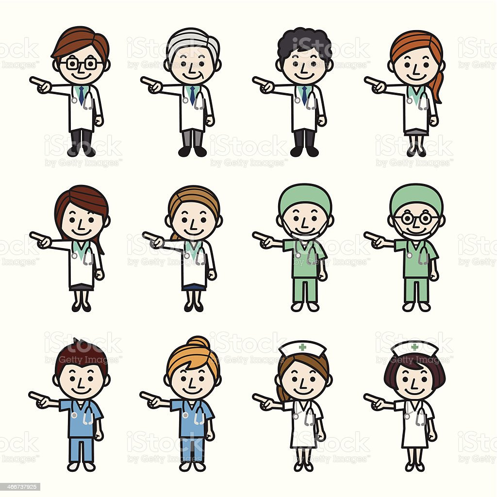 Health care workers pointing royalty-free stock vector art