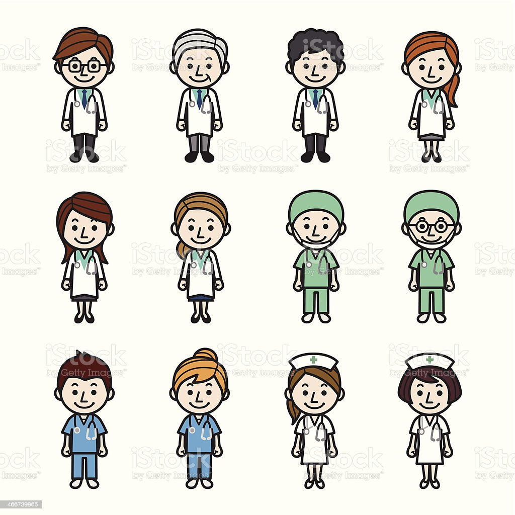 Health care workers vector art illustration