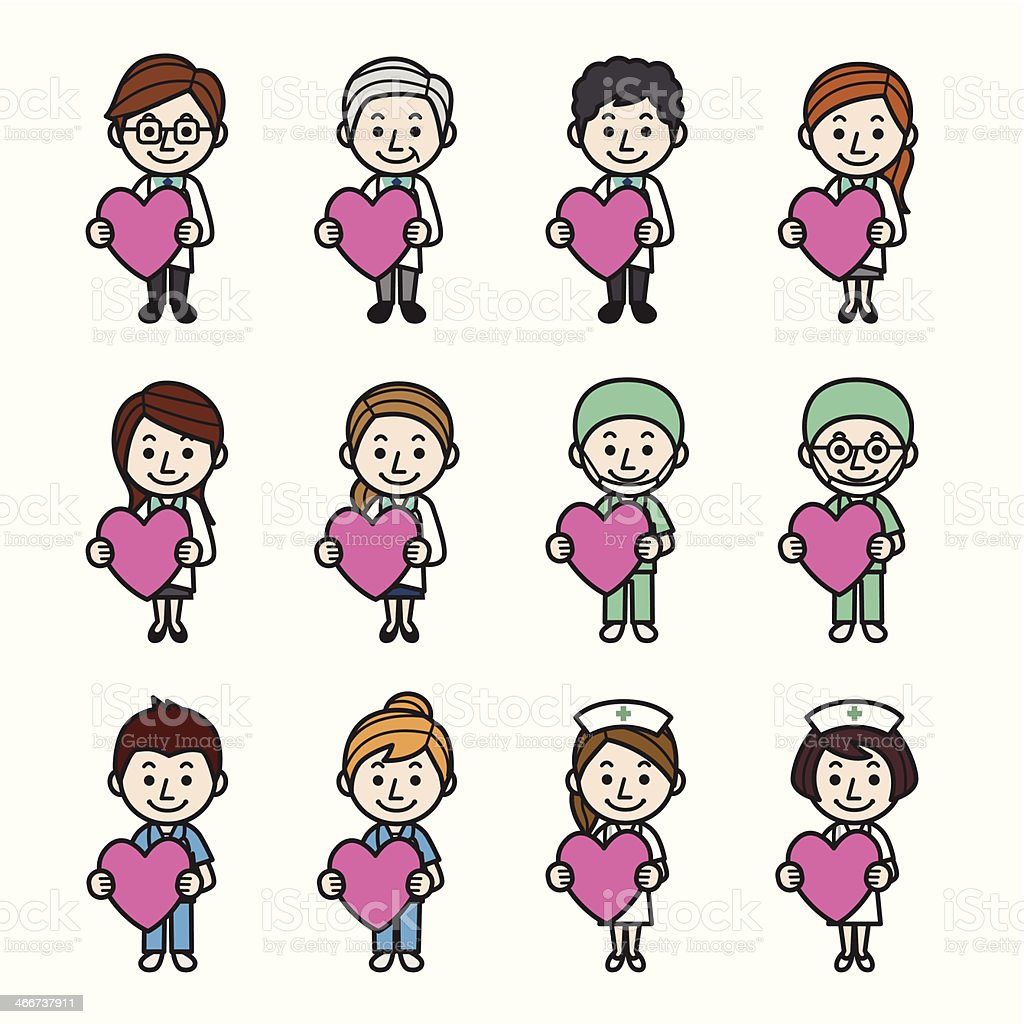 Health care workers with heart vector art illustration