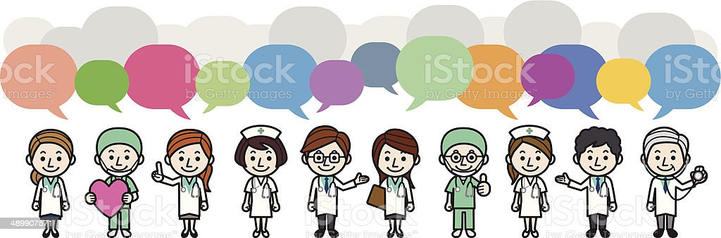 Health care workers withs speech bubbles vector art illustration
