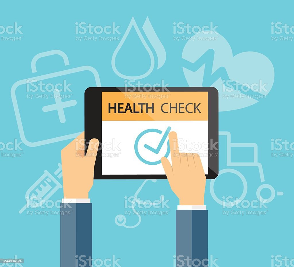 health check online in tablet device Medical and health concept vector art illustration