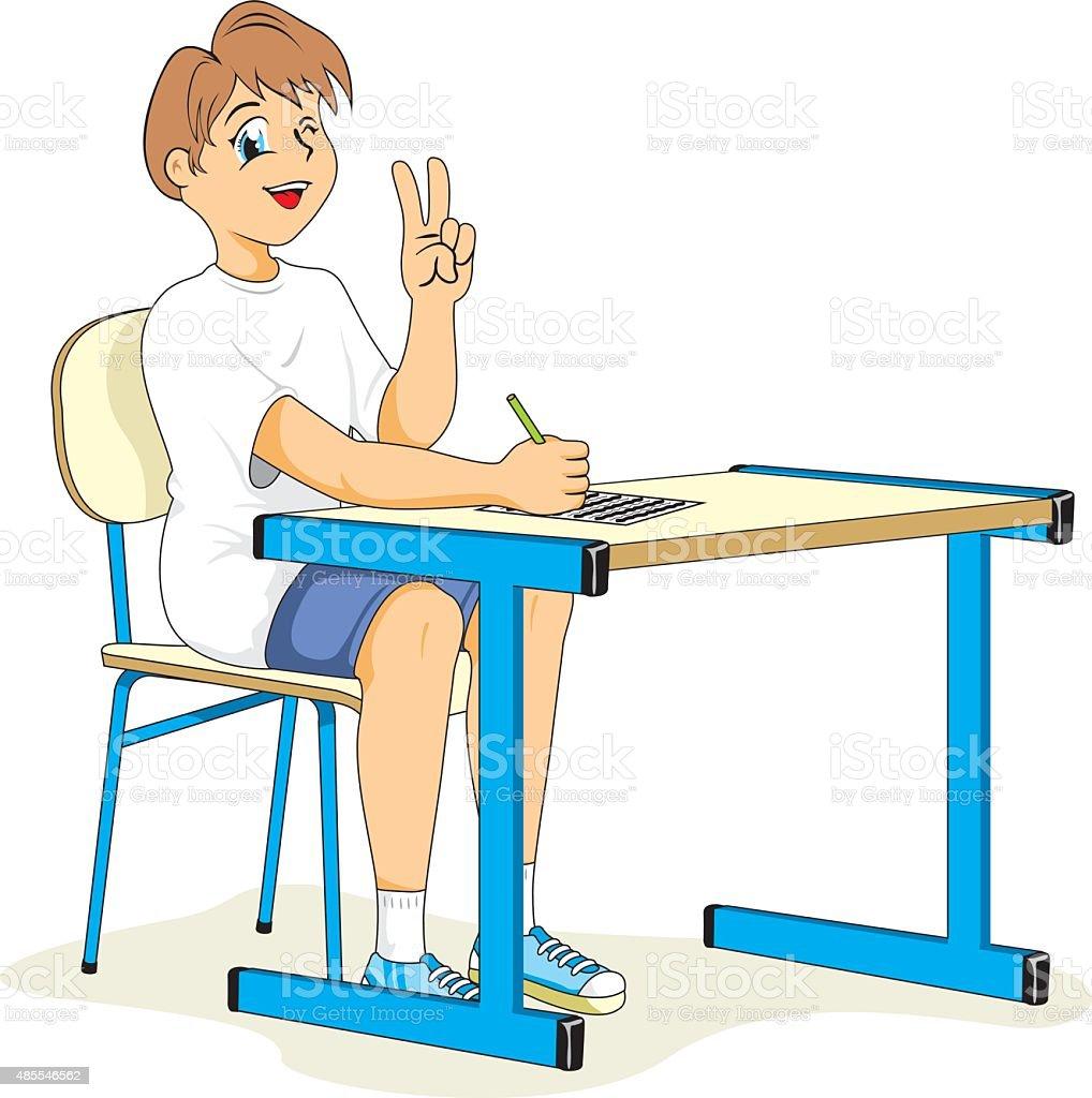 Health, child student sitting correct posture vector art illustration