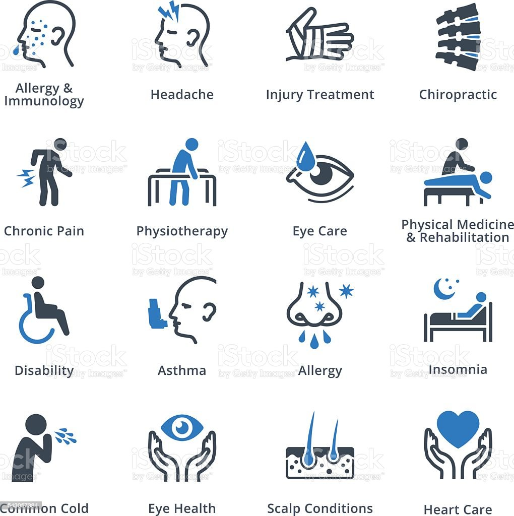 Health Conditions & Diseases Icons - Blue Series vector art illustration