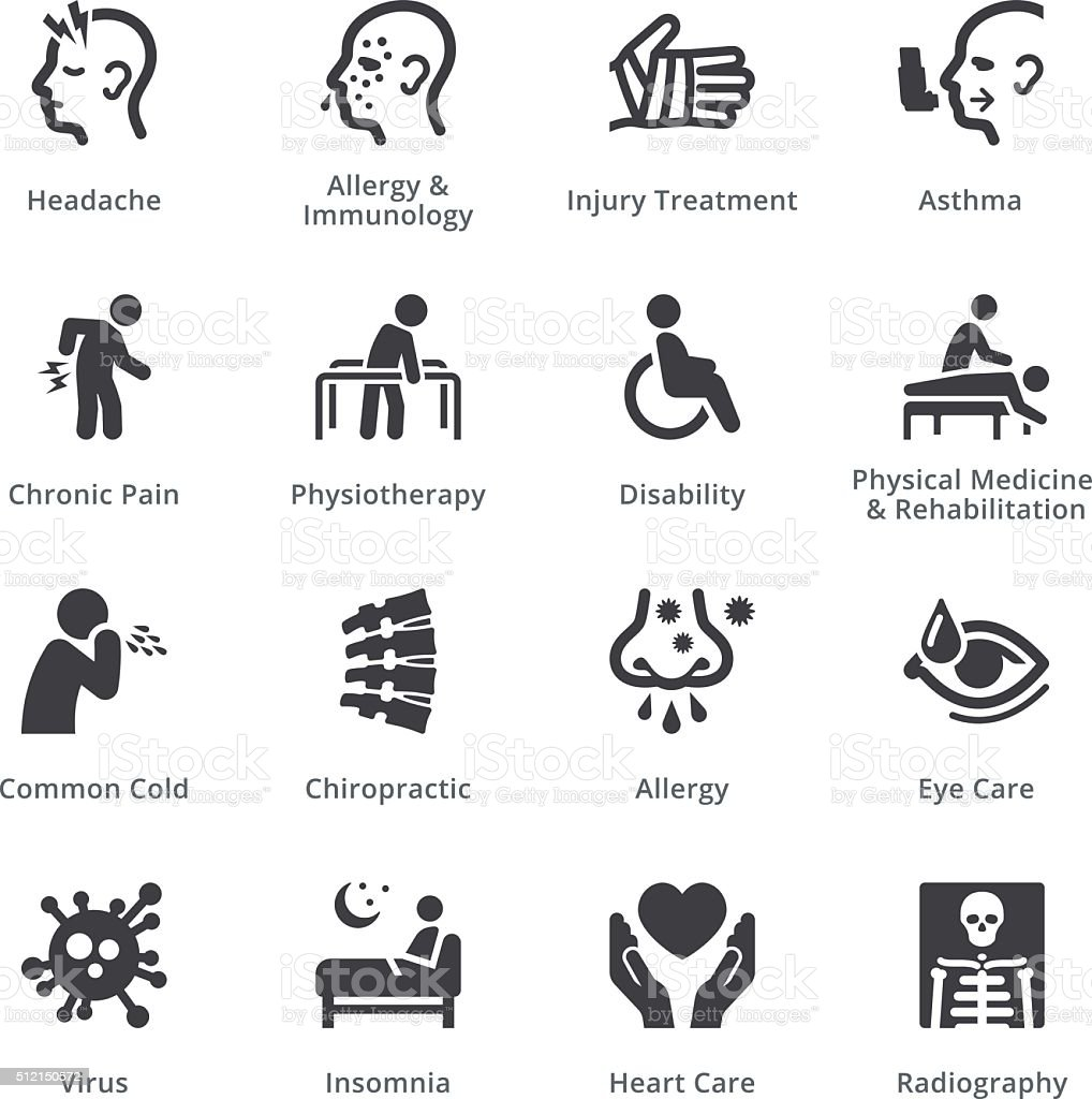 Health Conditions & Diseases Icons - Sympa Series | Black vector art illustration