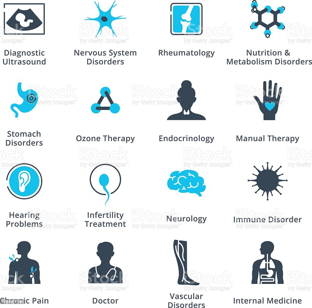 Health Conditions & Diseases Icons vector art illustration