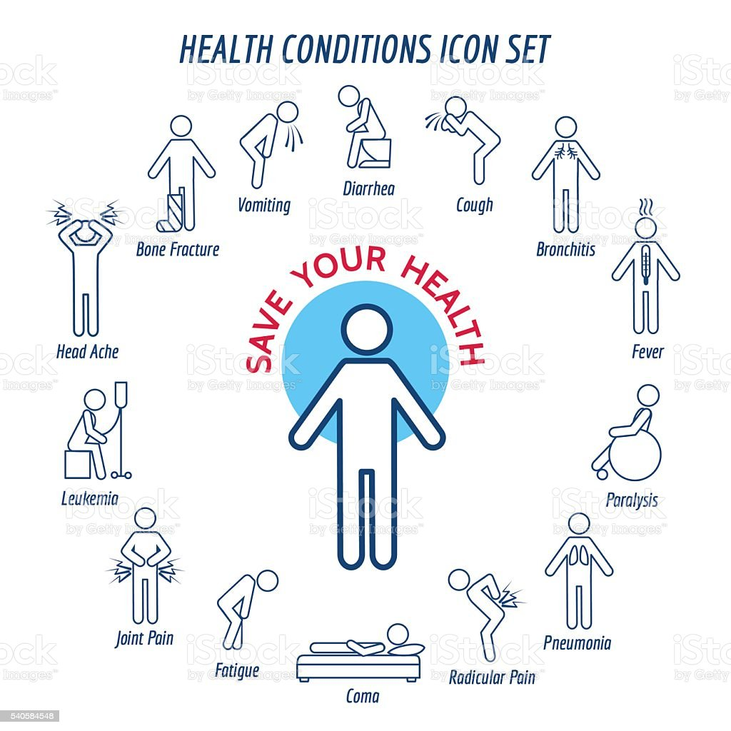 Health conditions icons vector art illustration