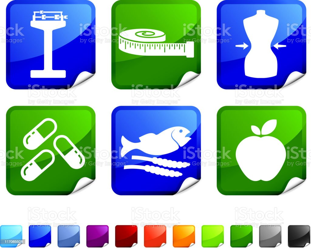 health diet and fitness  icons on sticker royalty-free stock vector art