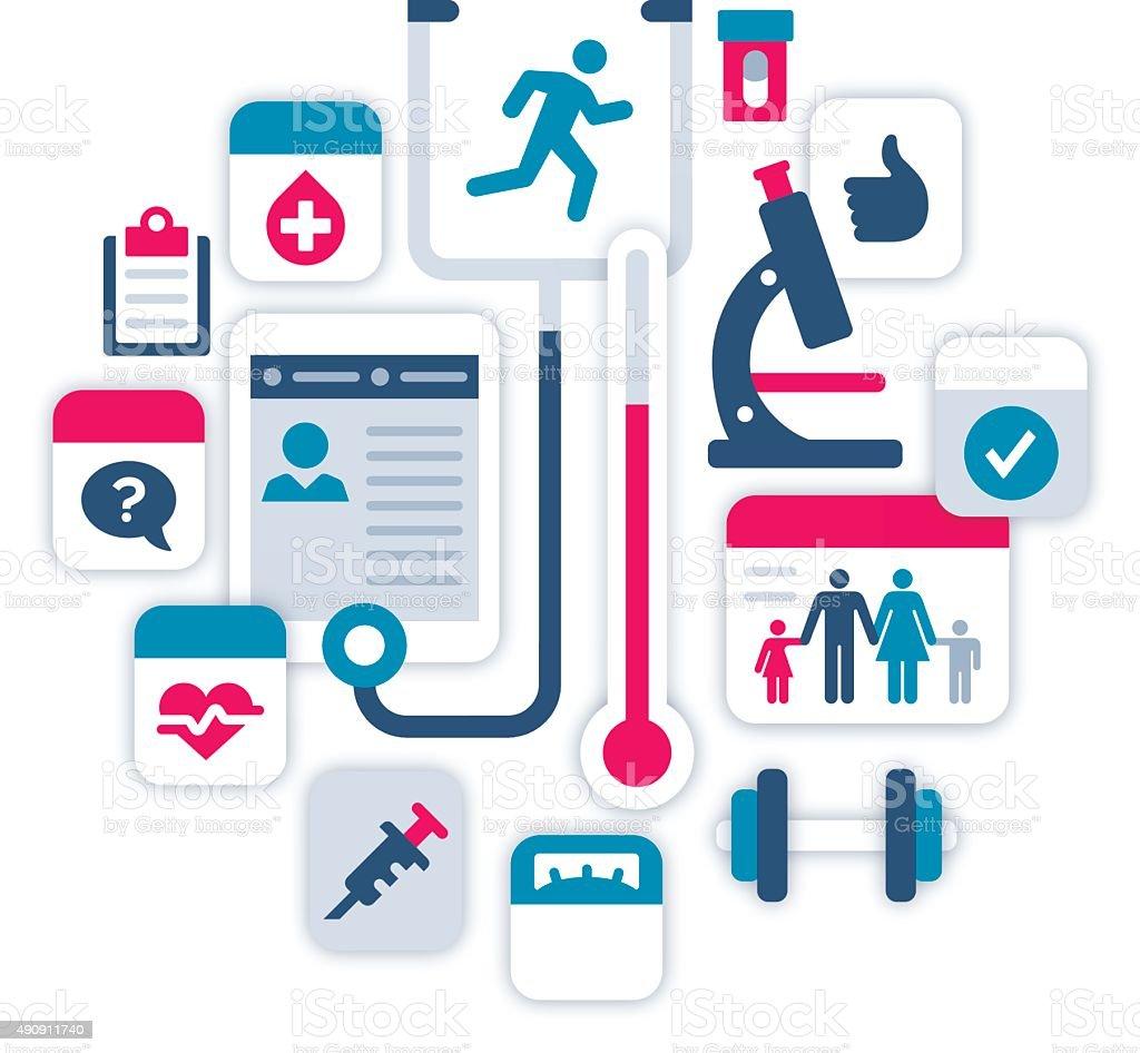 Health Fitness and Medical Symbols vector art illustration
