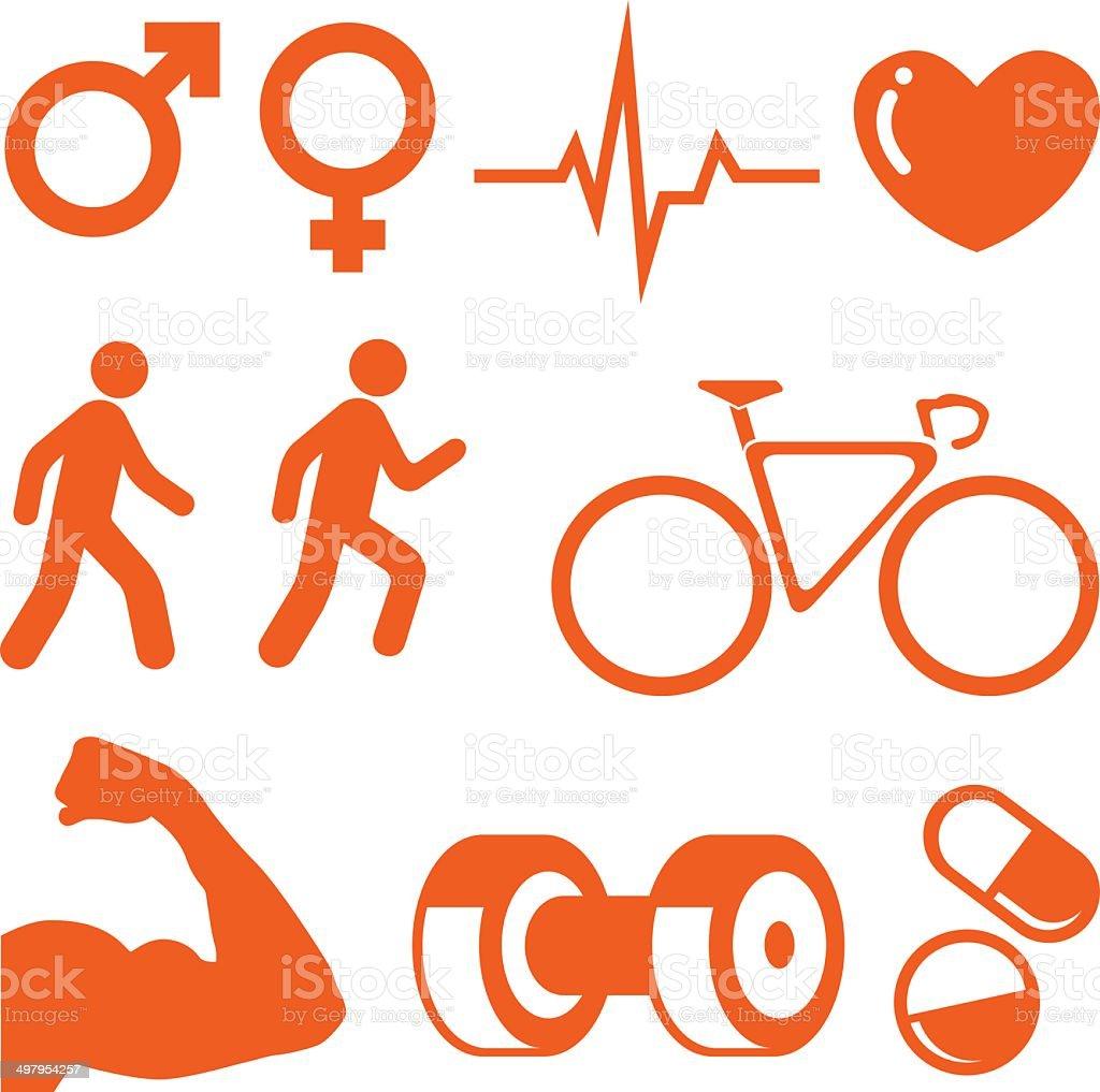 Health & Fitness icons set vector art illustration