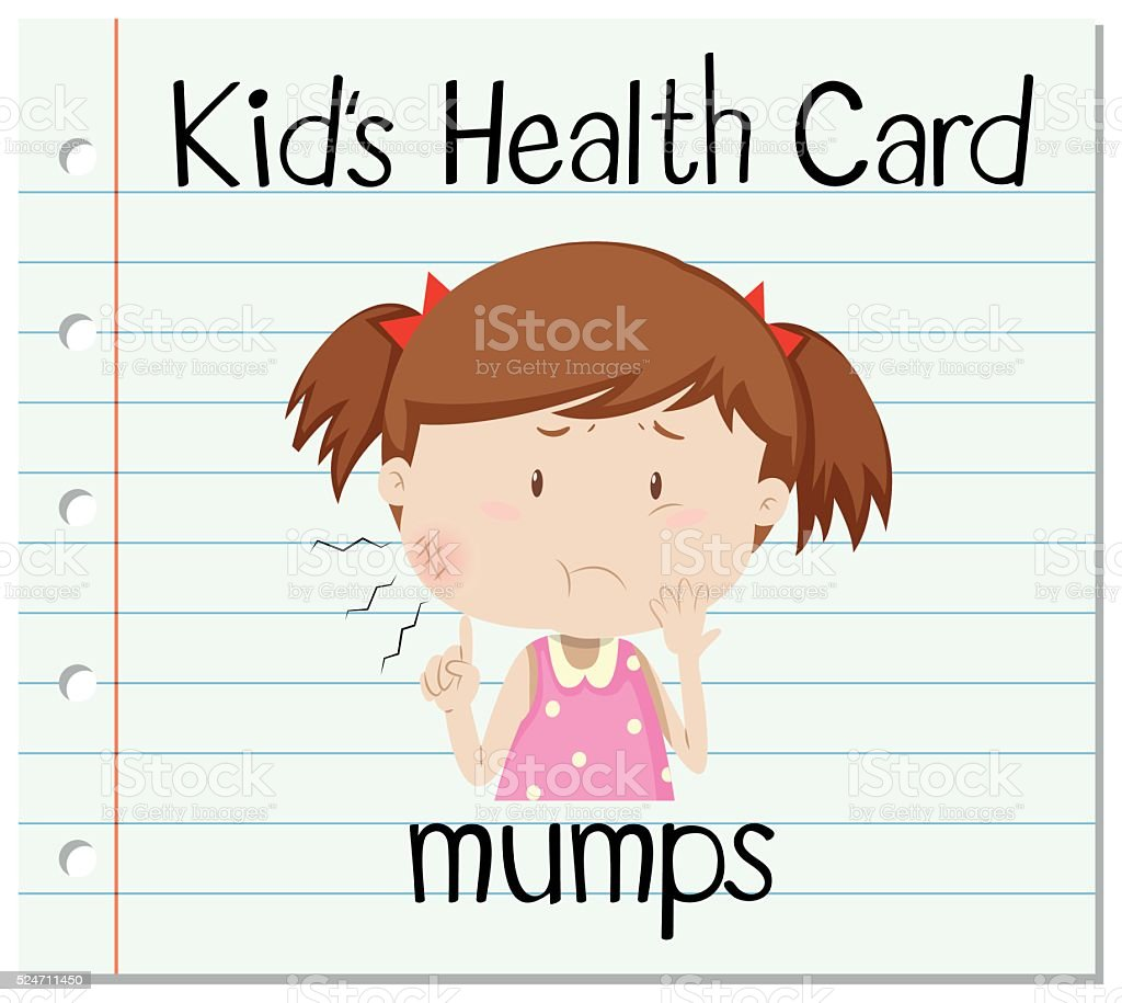 Health flashcard with girl and mumps vector art illustration