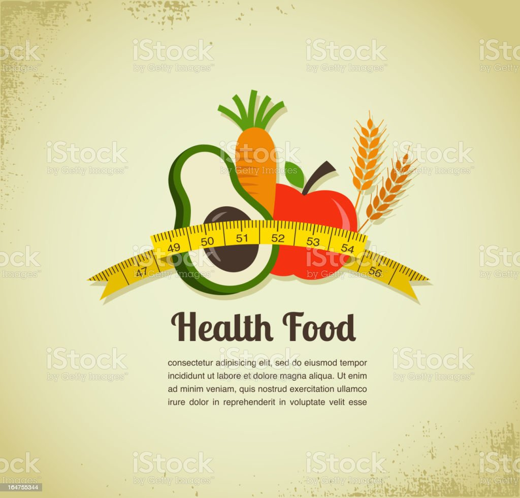 Health food and diet background with measure tape royalty-free stock vector art