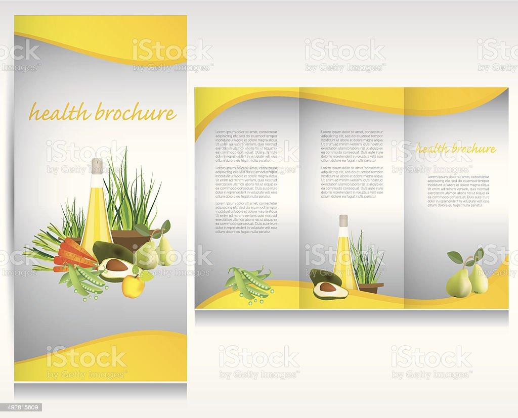 Health food brochure design. vector art illustration