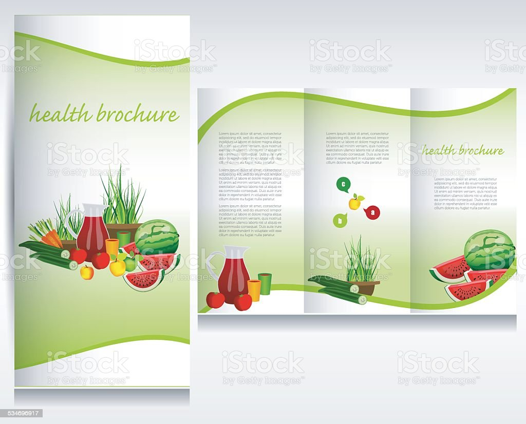 Health food brochure design. vector art illustration