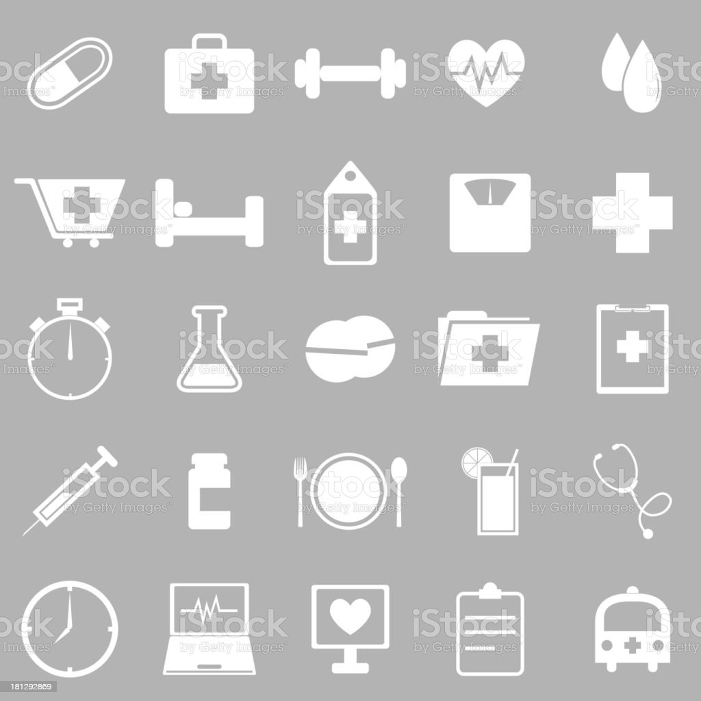 Health icons on gray background royalty-free stock vector art
