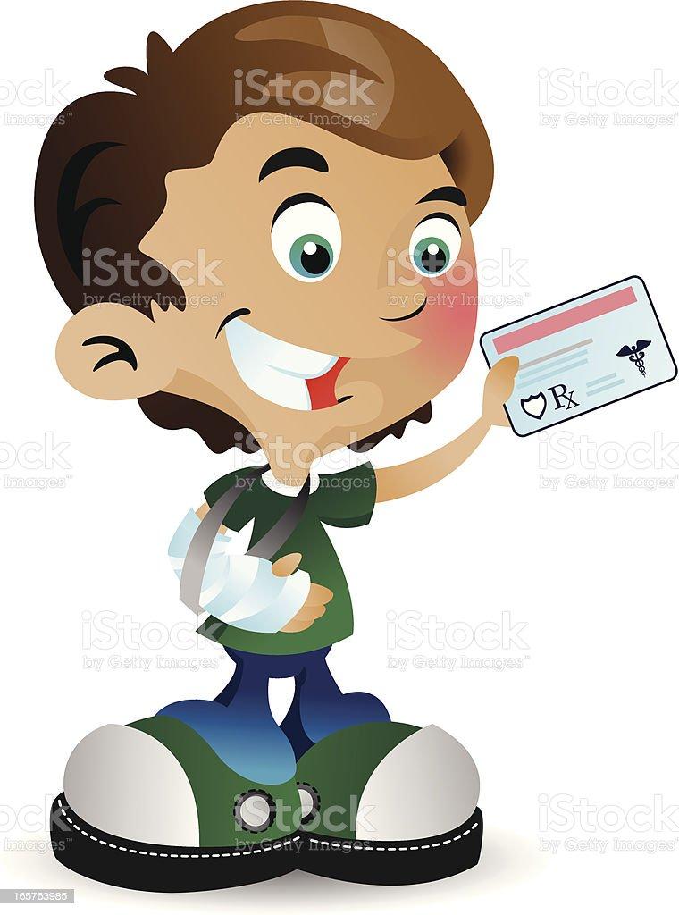 Health Insurance Boy vector art illustration