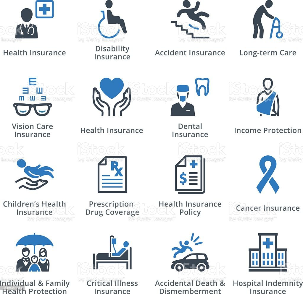 Health Insurance Icons - Blue Series vector art illustration