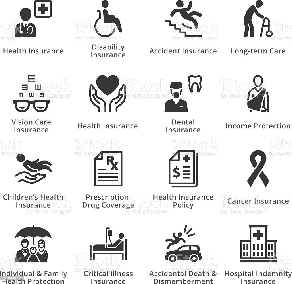 Health Insurance Icons vector art illustration
