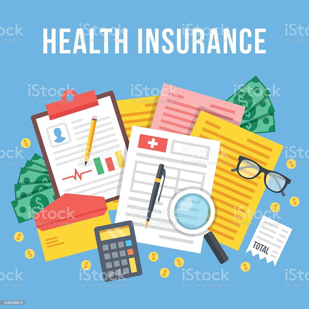 Health insurance, life insurance calculation. Top view. Flat vector illustration vector art illustration