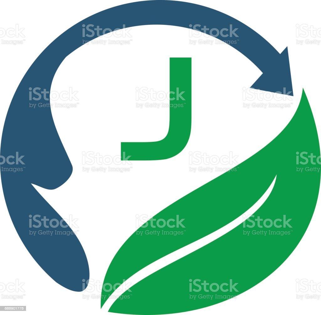 Health Life Center Initial J vector art illustration