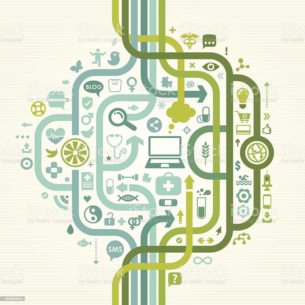 E Health Seamless Design vector art illustration