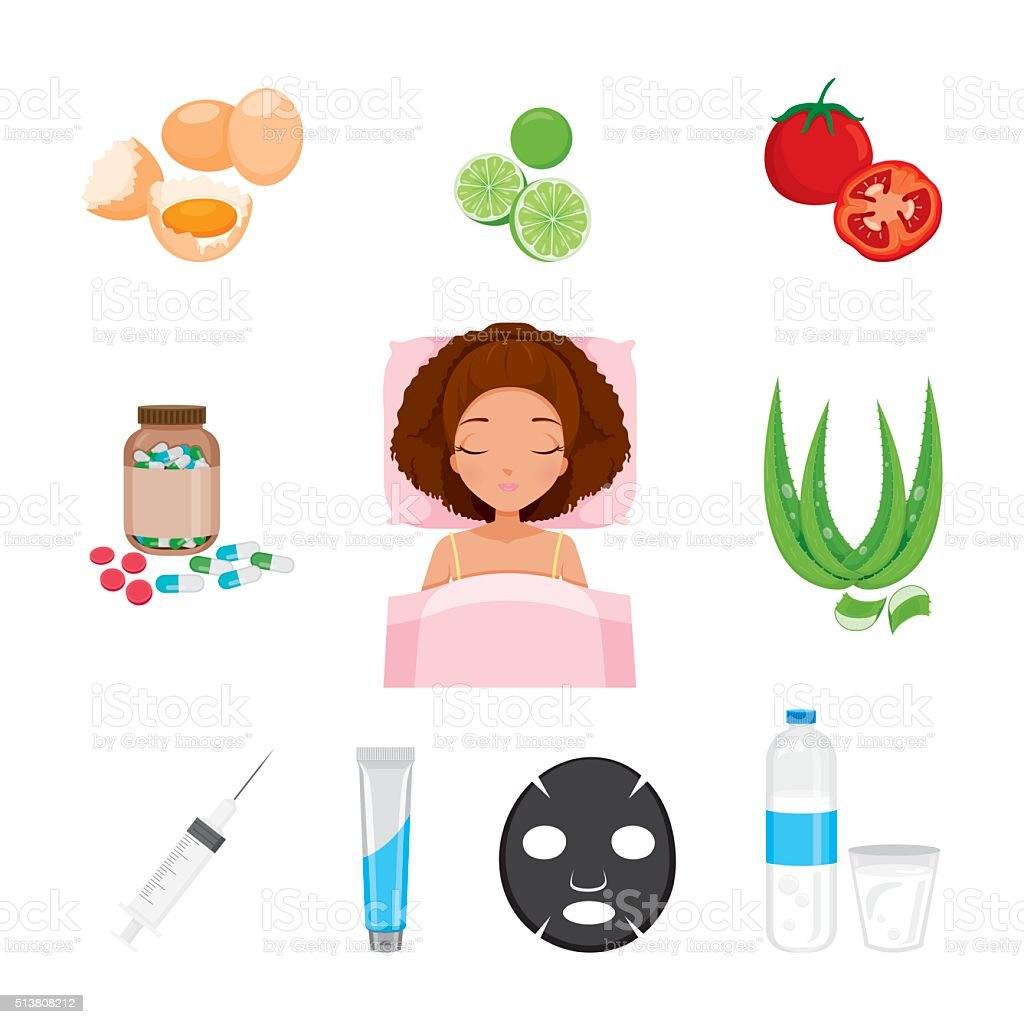 Health Skin Face And Body Icons Set vector art illustration