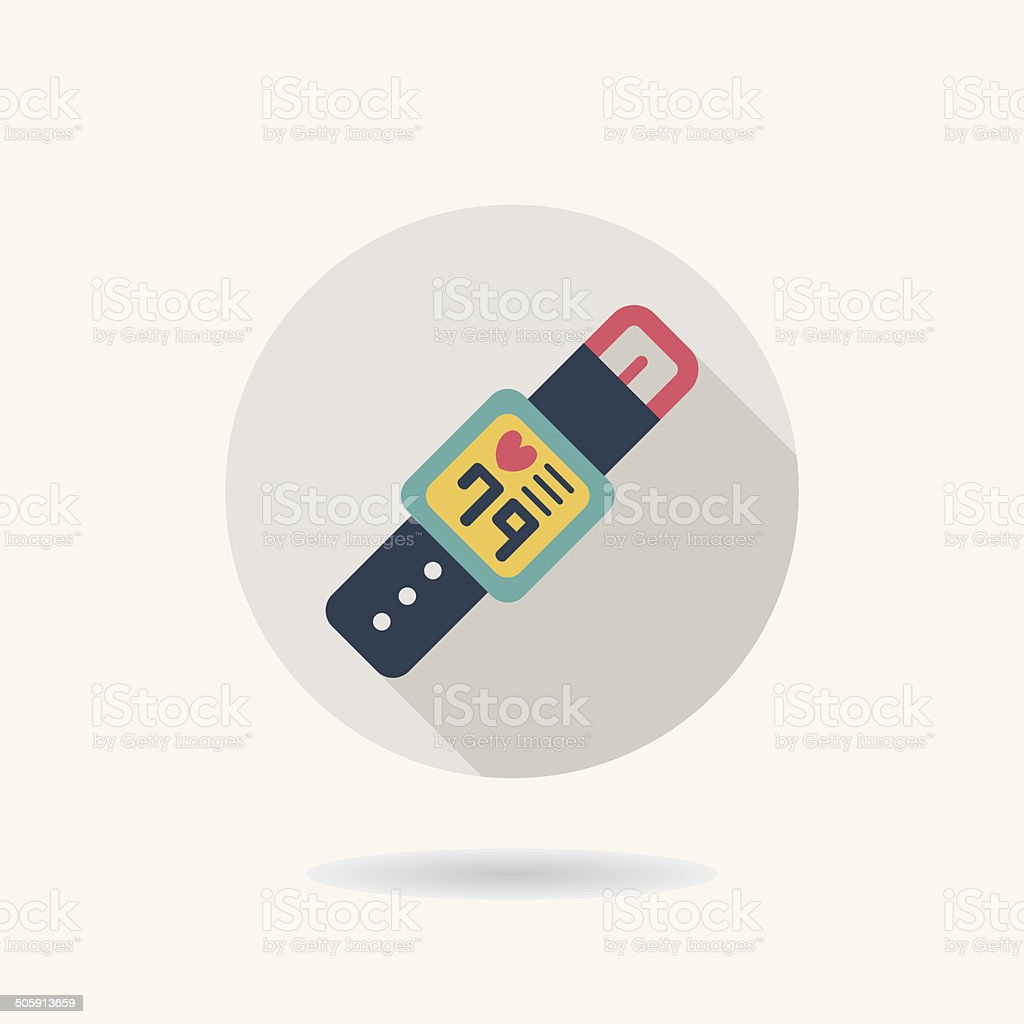health Smart watch flat icon with long shadow vector art illustration