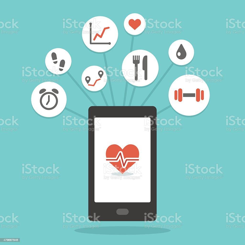 Health smartphone app vector art illustration