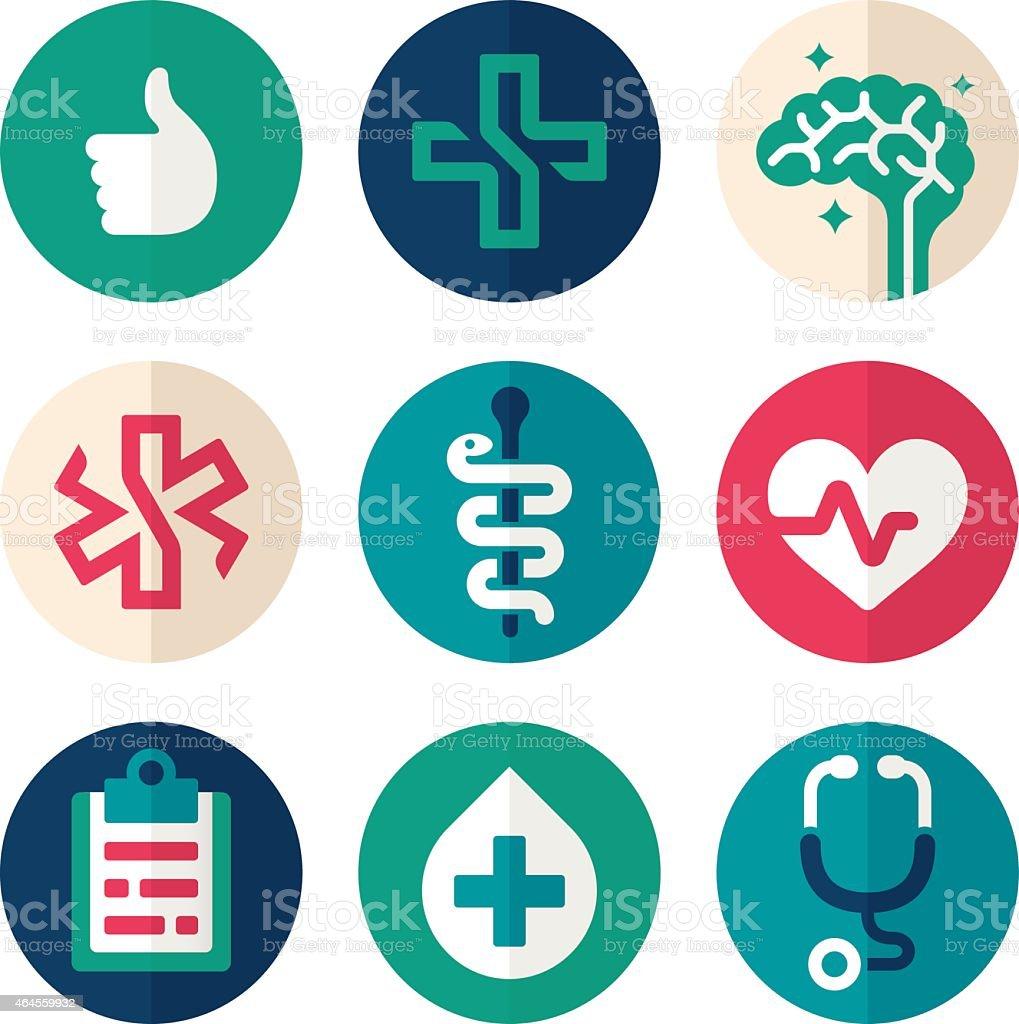 Health Symbols Flat Design vector art illustration