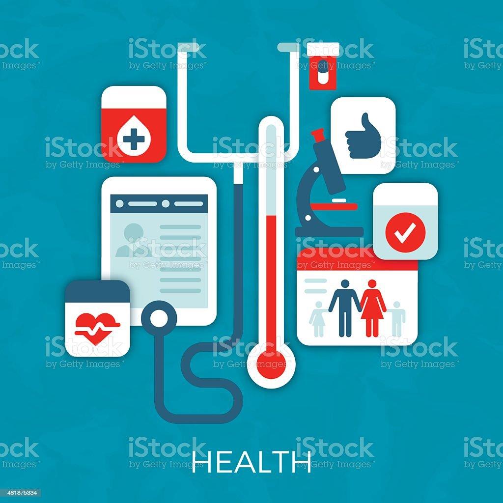 Health Symbols vector art illustration