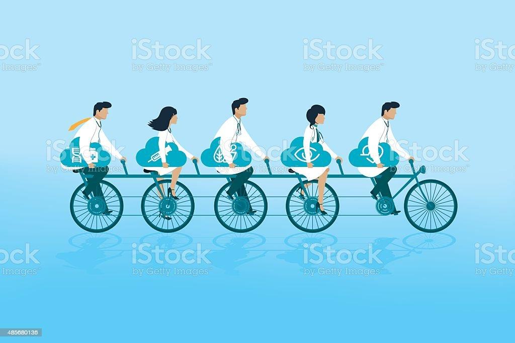 Health team vector art illustration