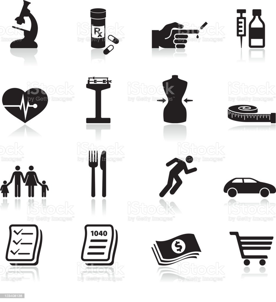 Health & Wellness Services black and white vector icon set royalty-free stock vector art