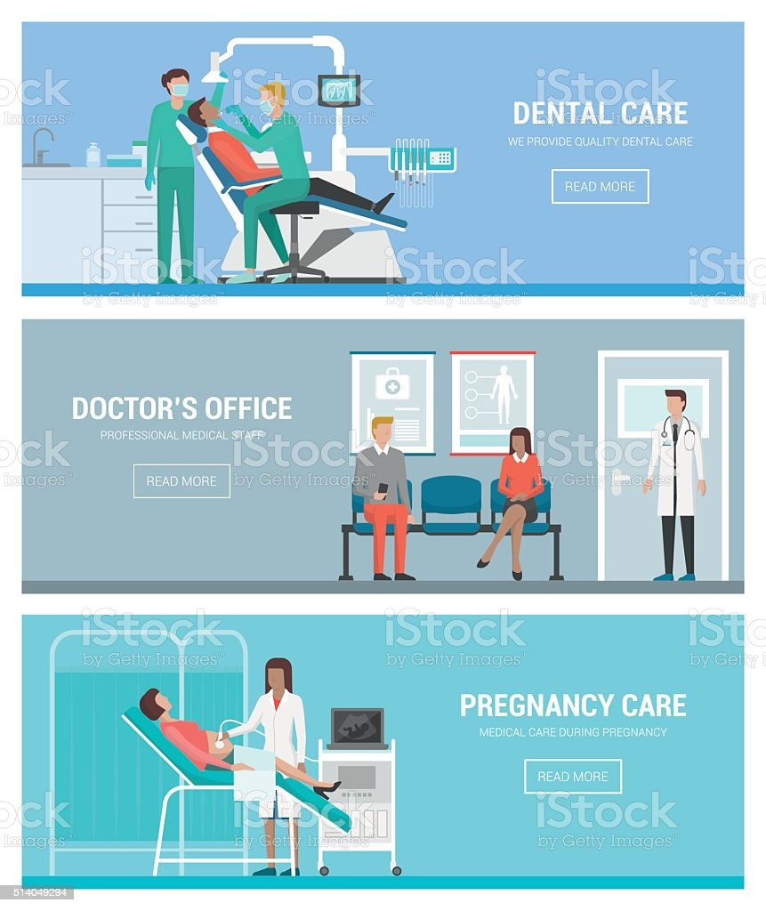 Healthcare and doctors vector art illustration