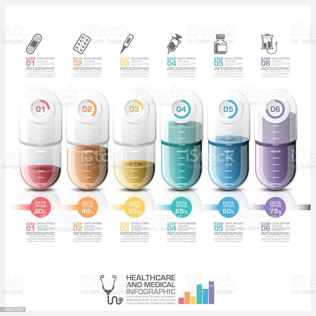 Healthcare And Medical Infographic With Pill Capsule Timeline Step Diagram vector art illustration