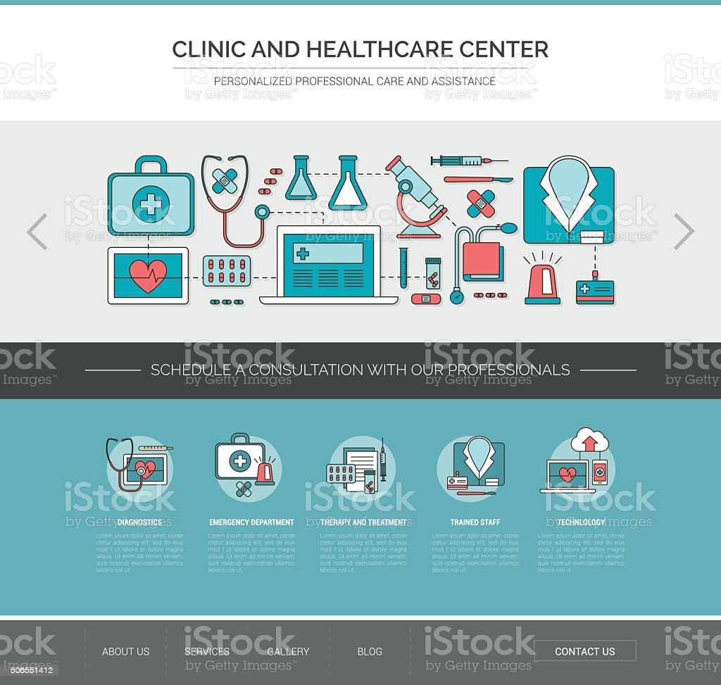 Healthcare and medicine web template vector art illustration