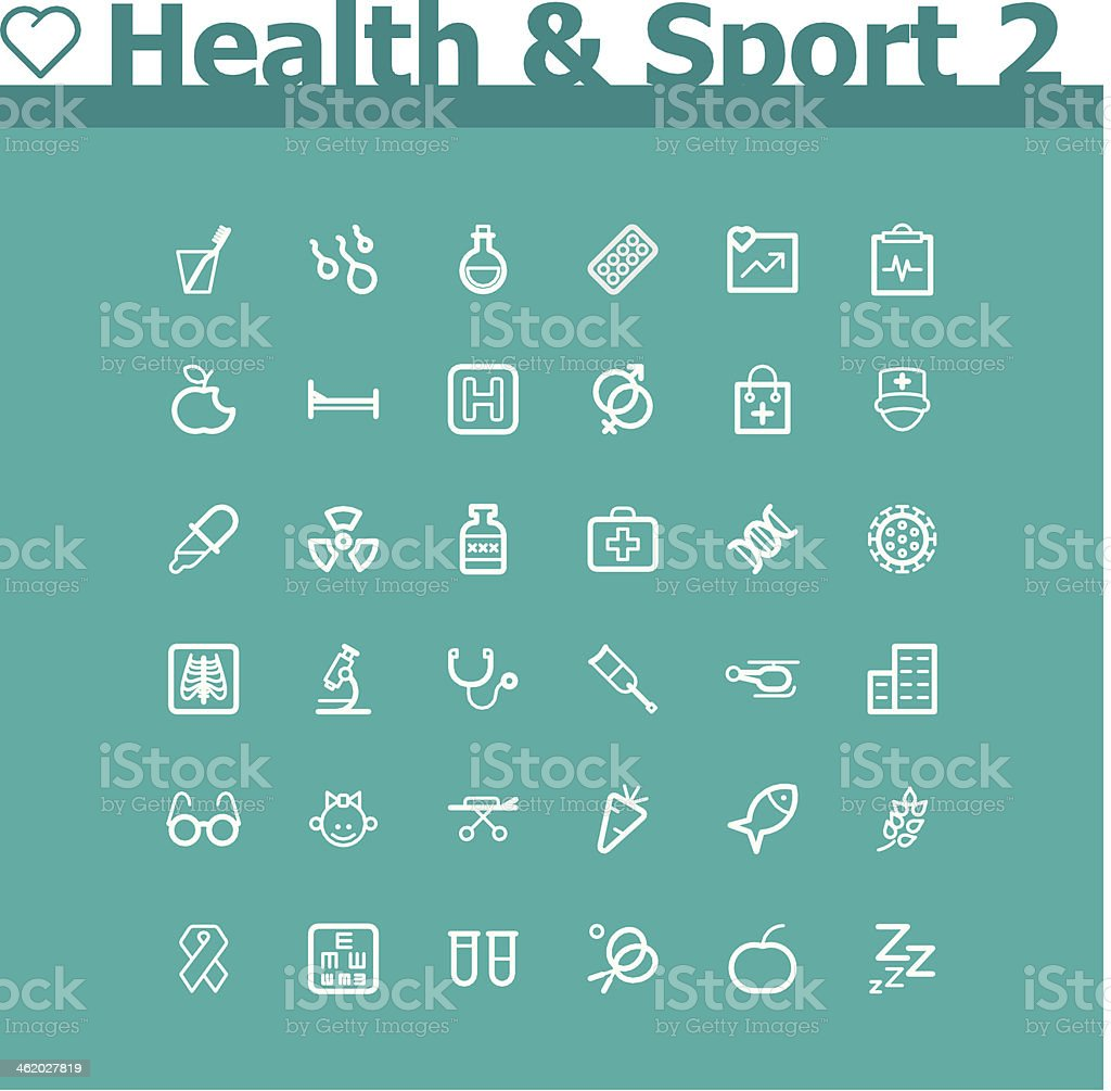 Healthcare and sport icon set royalty-free stock vector art